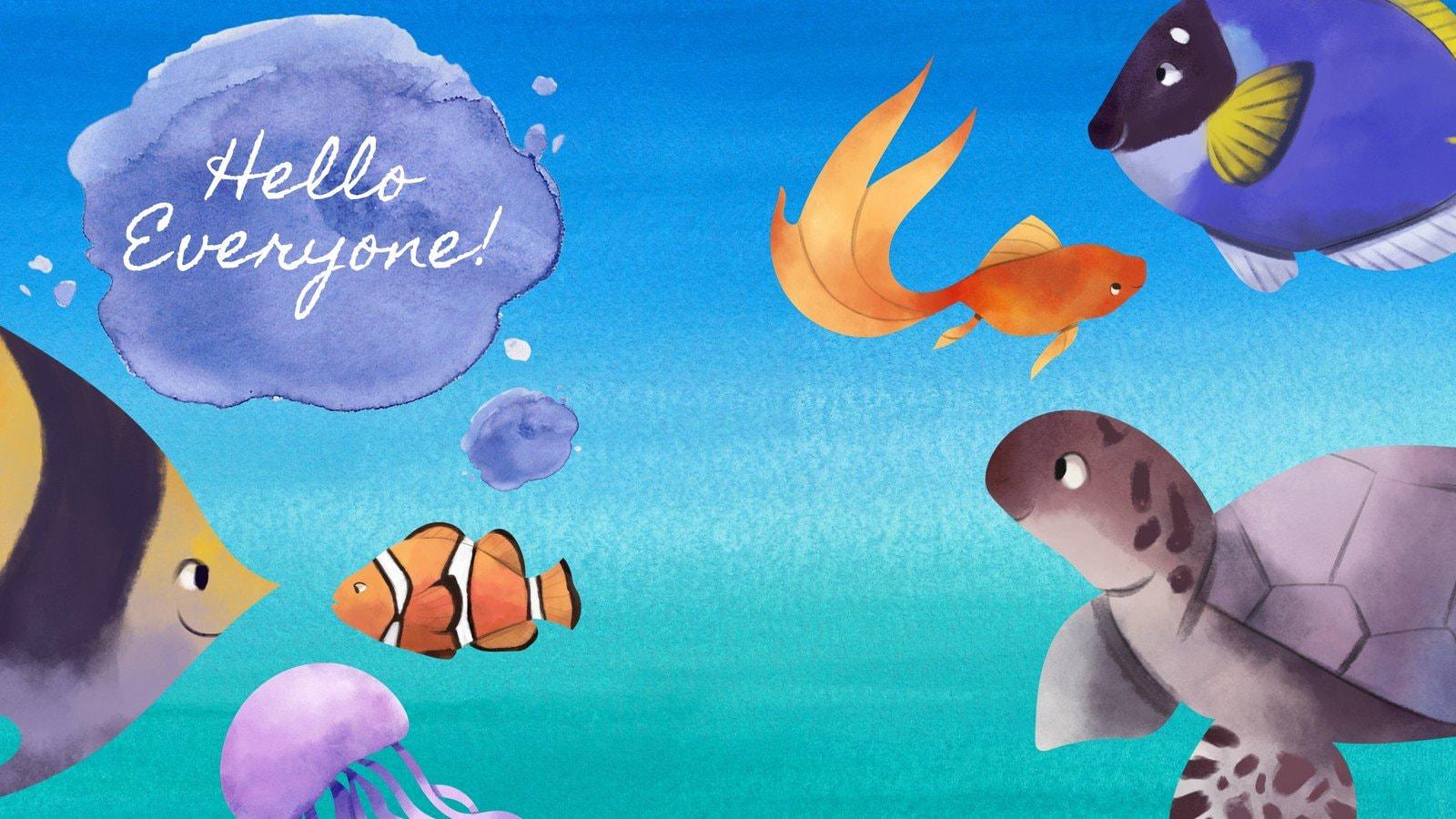 Blue Underwater Sea Creatures Zoom Virtual Background