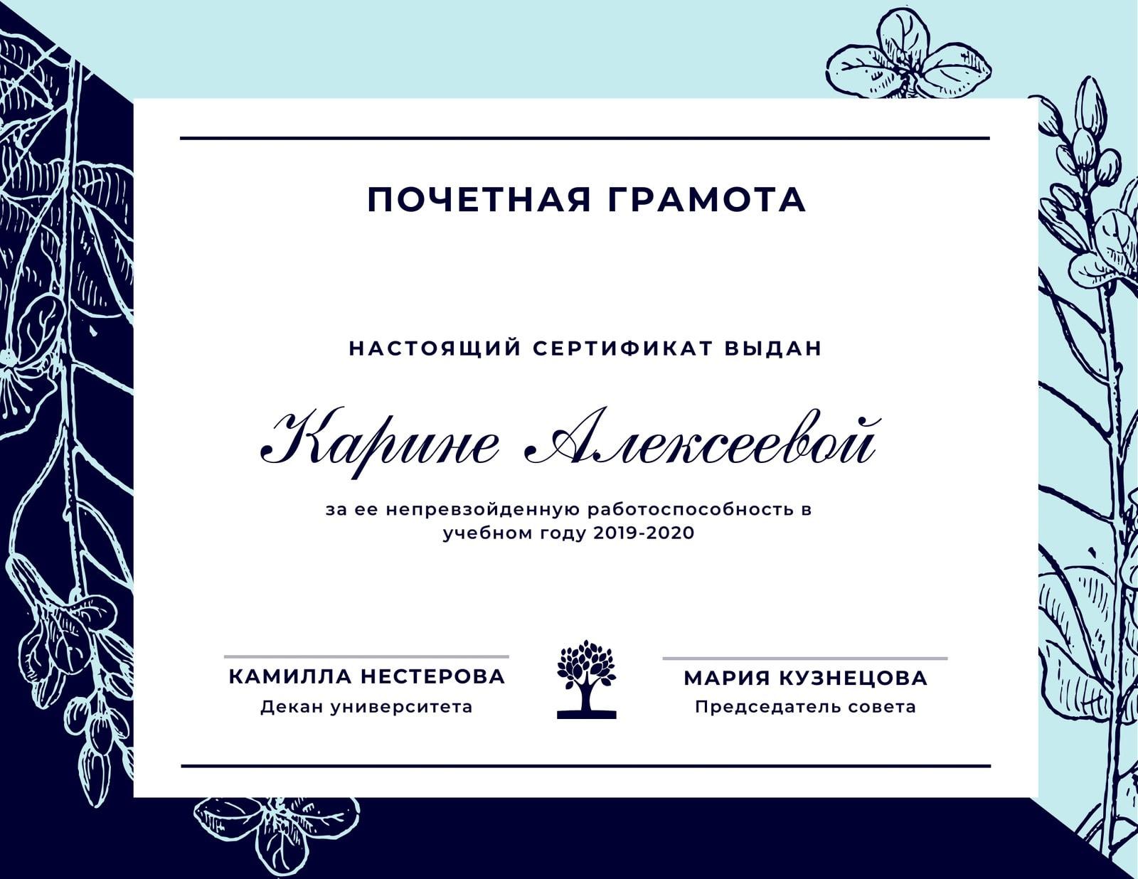 Светло-Синий и Темно-Синий Сертификат Признания