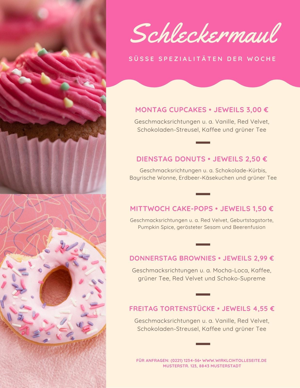 Rosa Süß Foto Dessert Wochenkarte