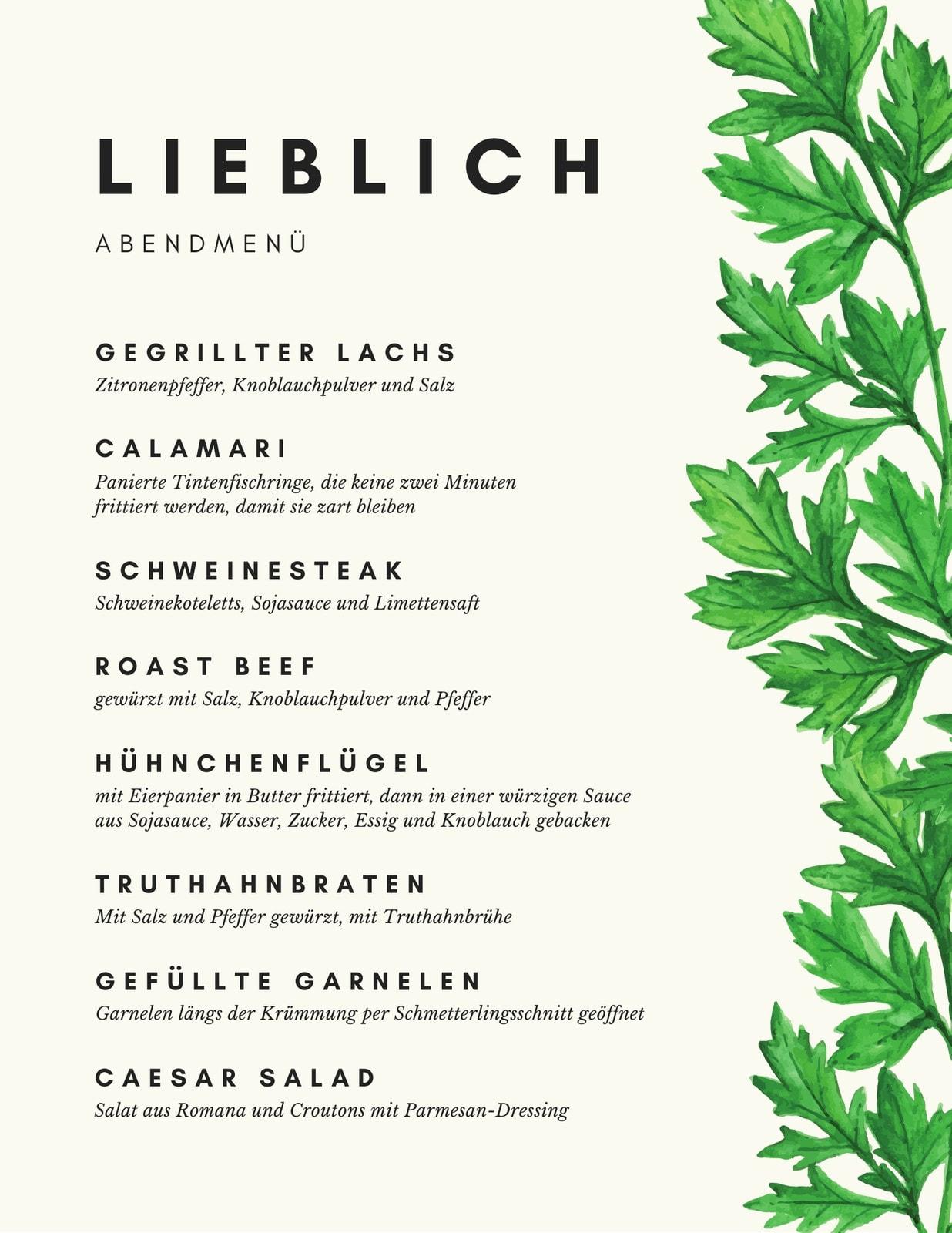 Weiß Grün Blätter Abendkarte