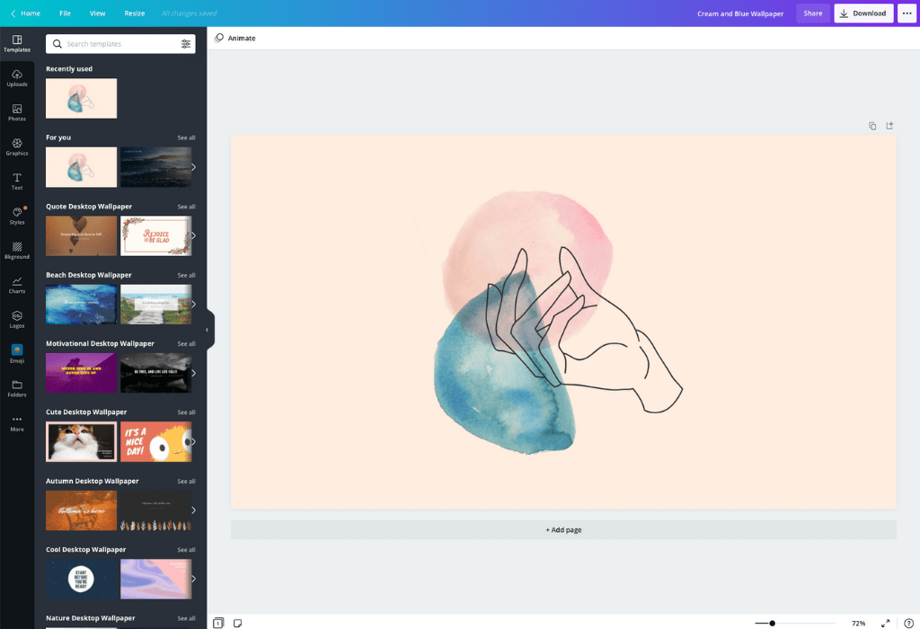 Come creare uno sfondo - Canva