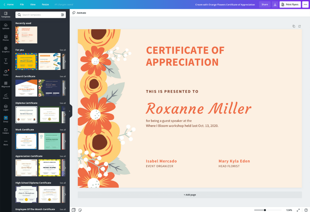 How to make a certificate - Canva