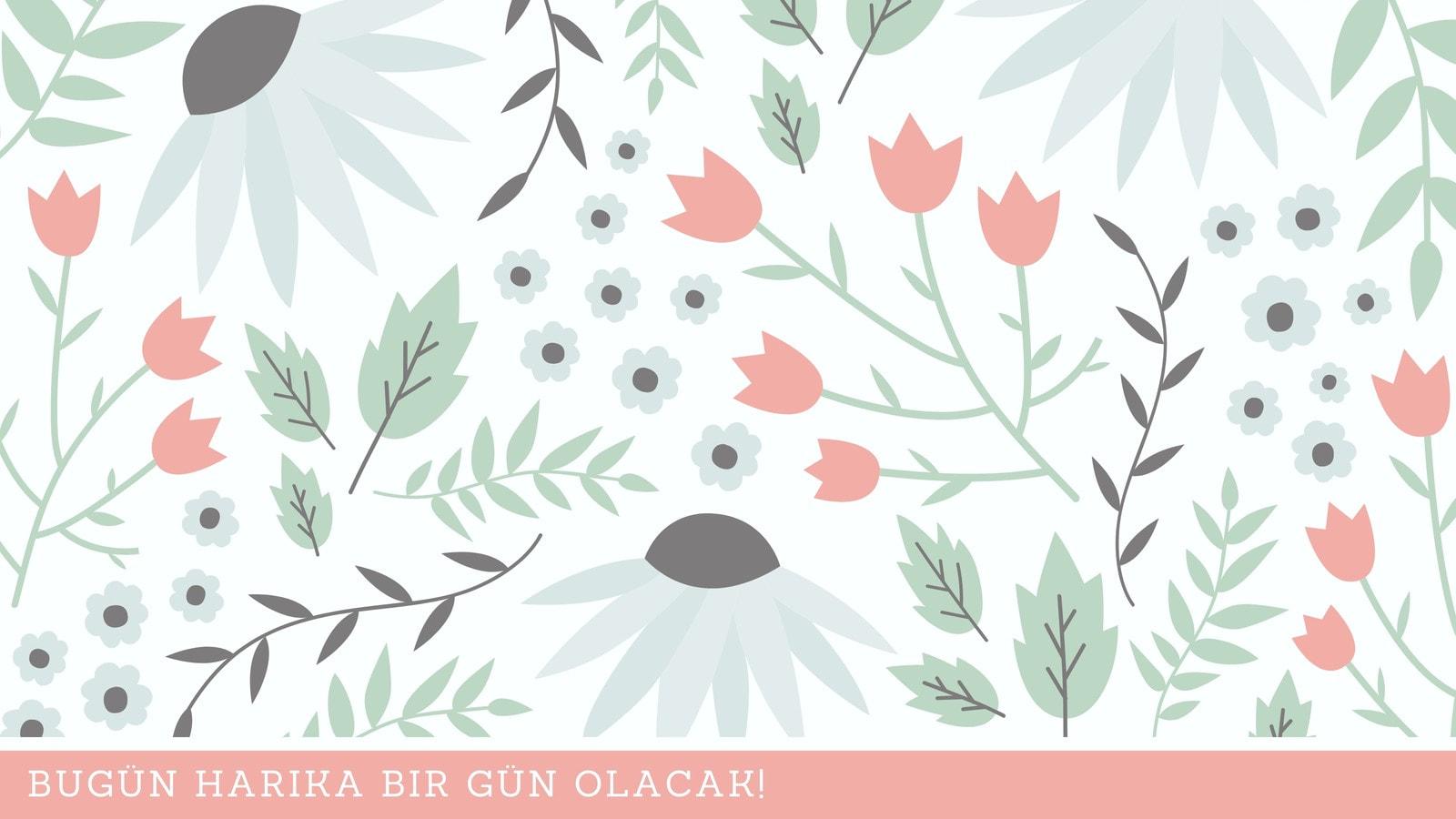 Pastel Çiçek ve Yaprak Çizimi Yaratıcı Duvar Kağıdı