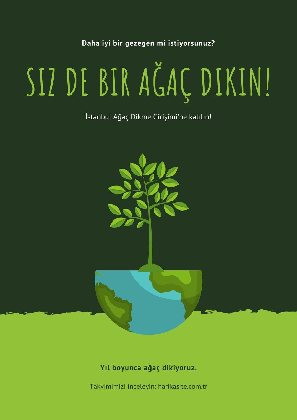 Yeşil Çizim Çevre Koruma Afiş