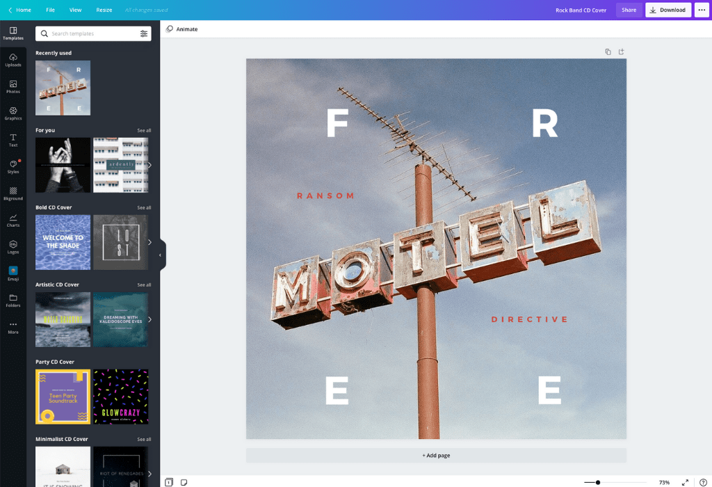 How to make an album cover - Canva