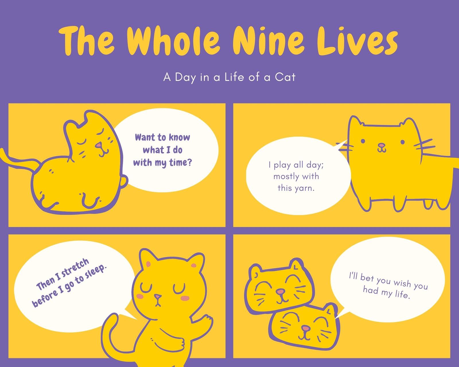 Pastel Yellow Cat's Life Comic Strip
