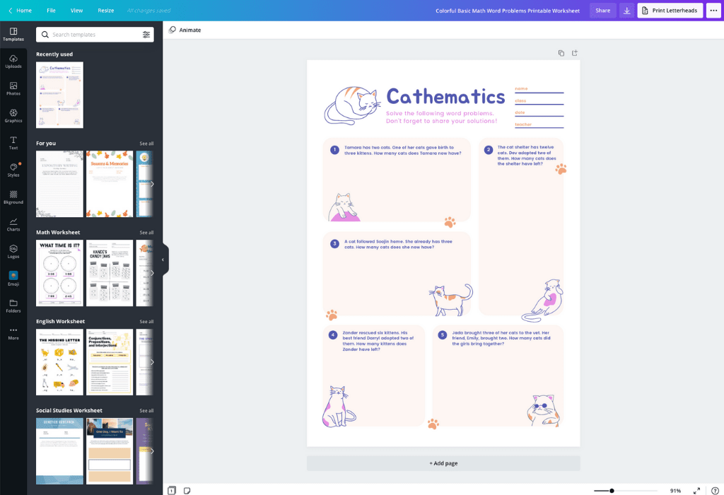 How to make worksheets - Canva