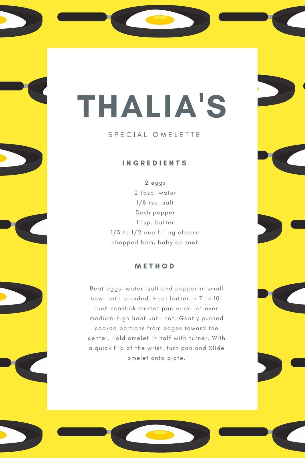 Yellow Eggs Illustration General Recipe Card