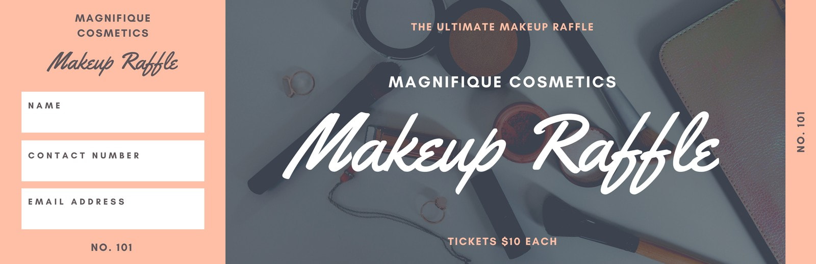 Peach and Grey Makeup Raffle Ticket