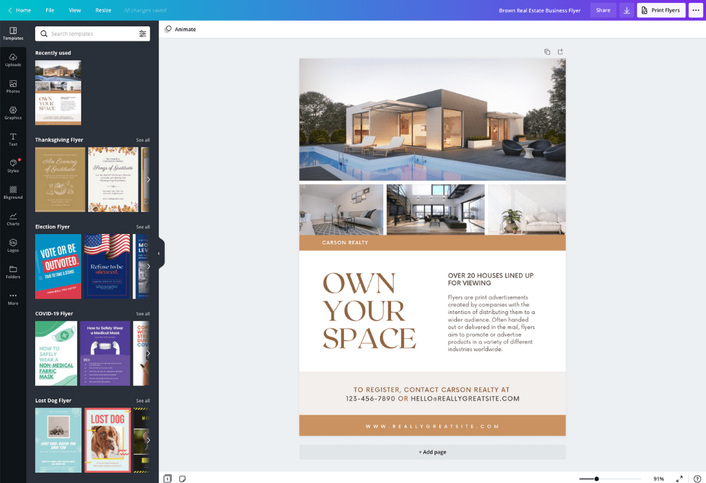 How to make a real estate flyer - Canva