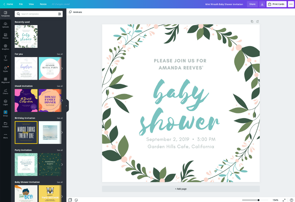 How to make a baby shower invitation - Canva