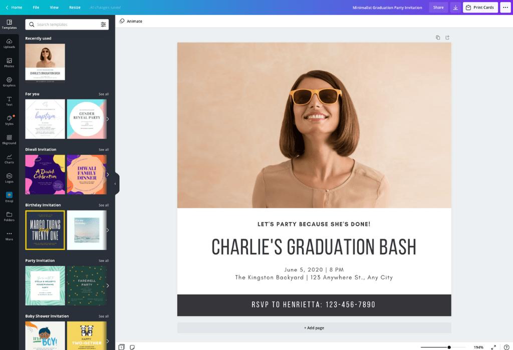 How to make a graduation invitation - Canva