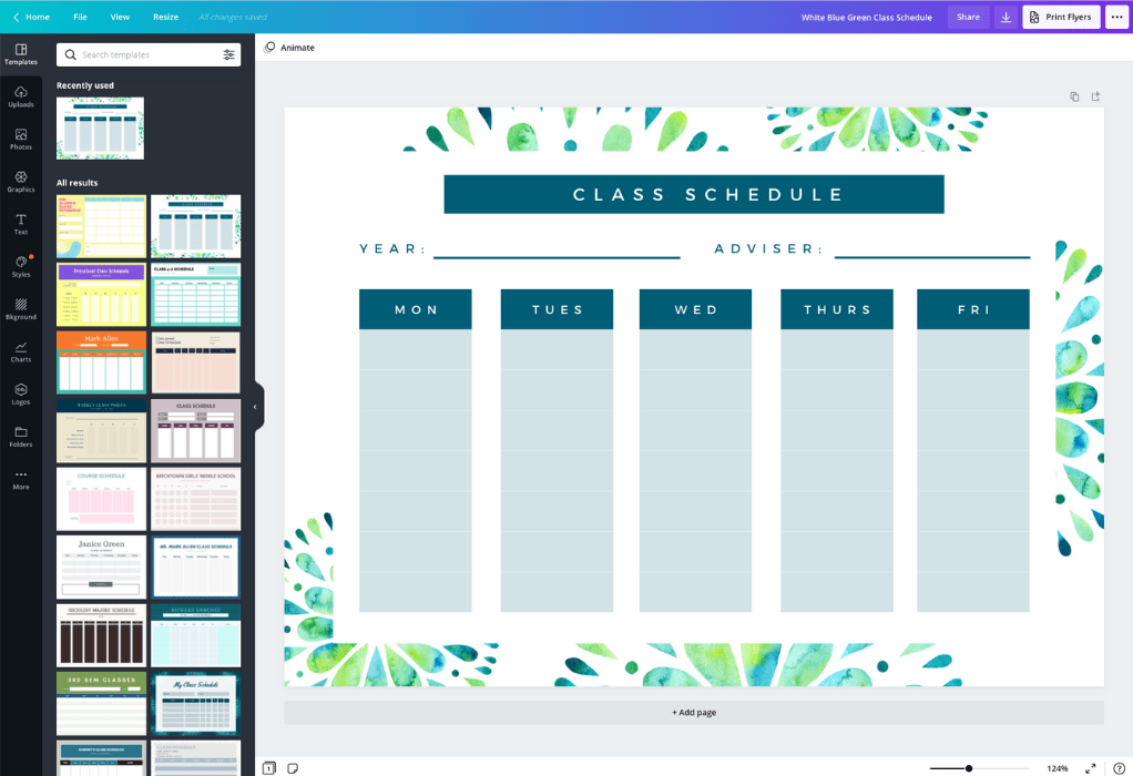 クラスの時間割の作成方法 - Canva