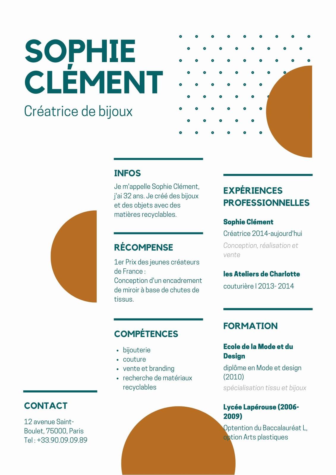 CV A4 graphique bleu et orange