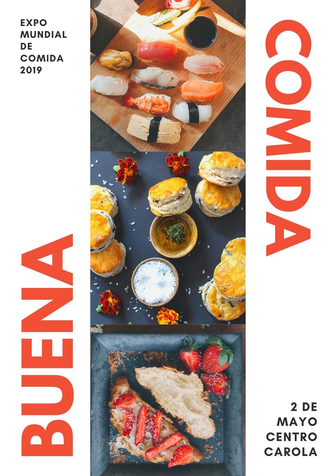 Rojo y Blanco Collage Alimentos Póster