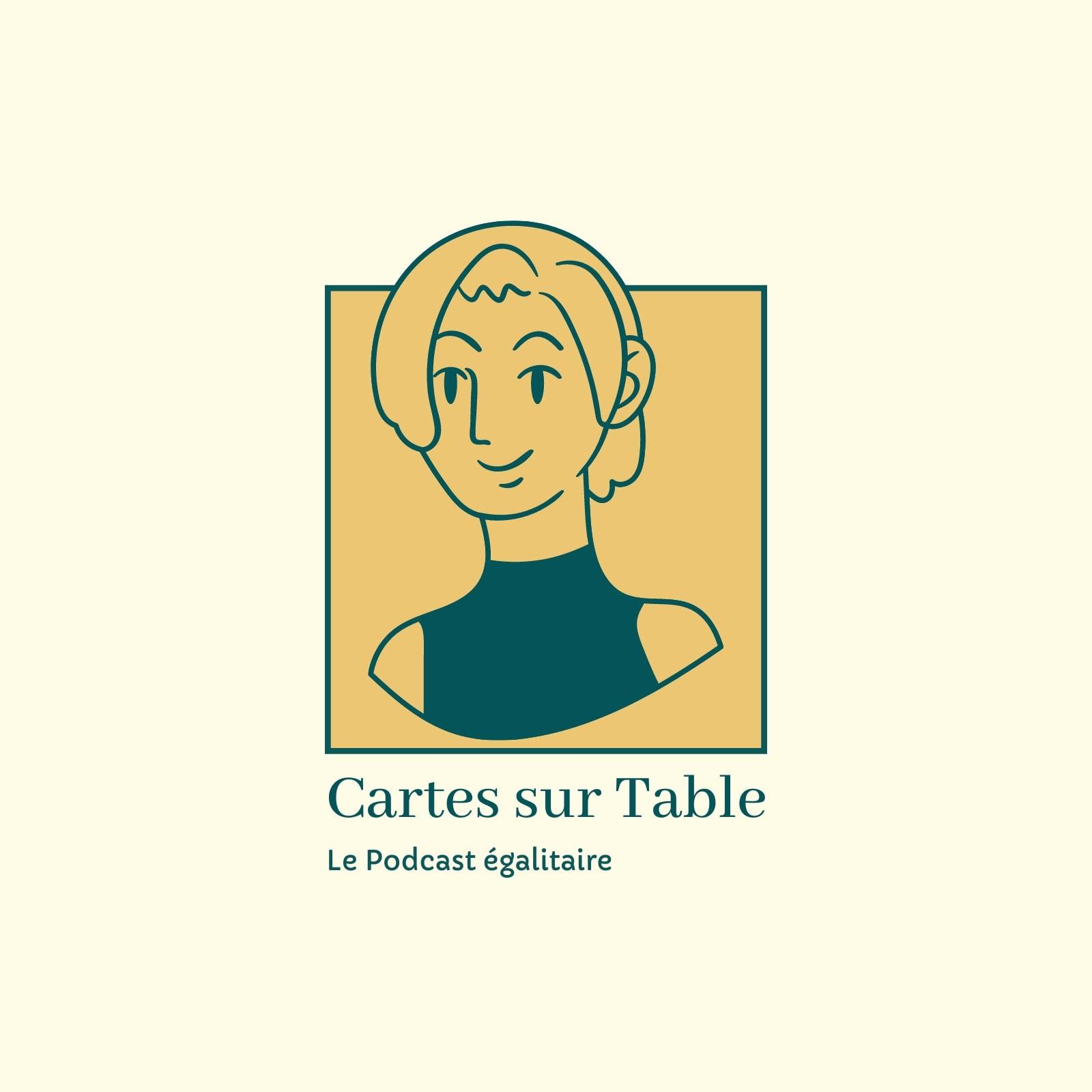 Logo podcast avec femme illustrée bleu et jaune