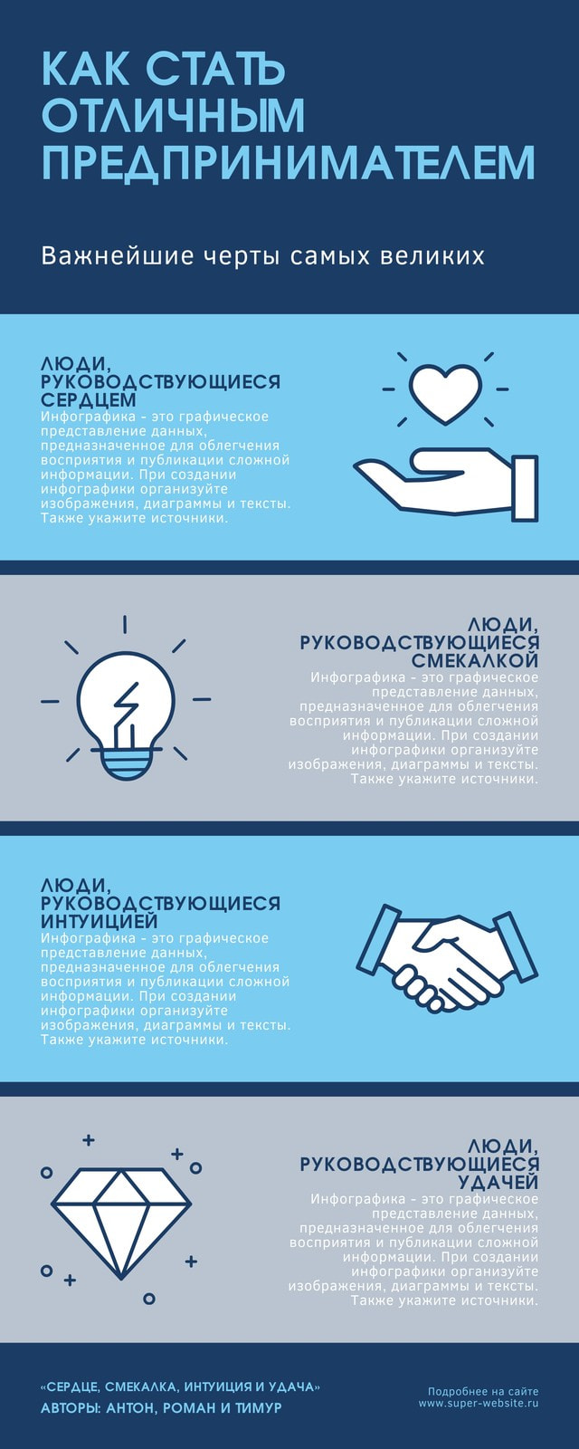 Синий Предприниматель Личности Бизнес Инфографика
