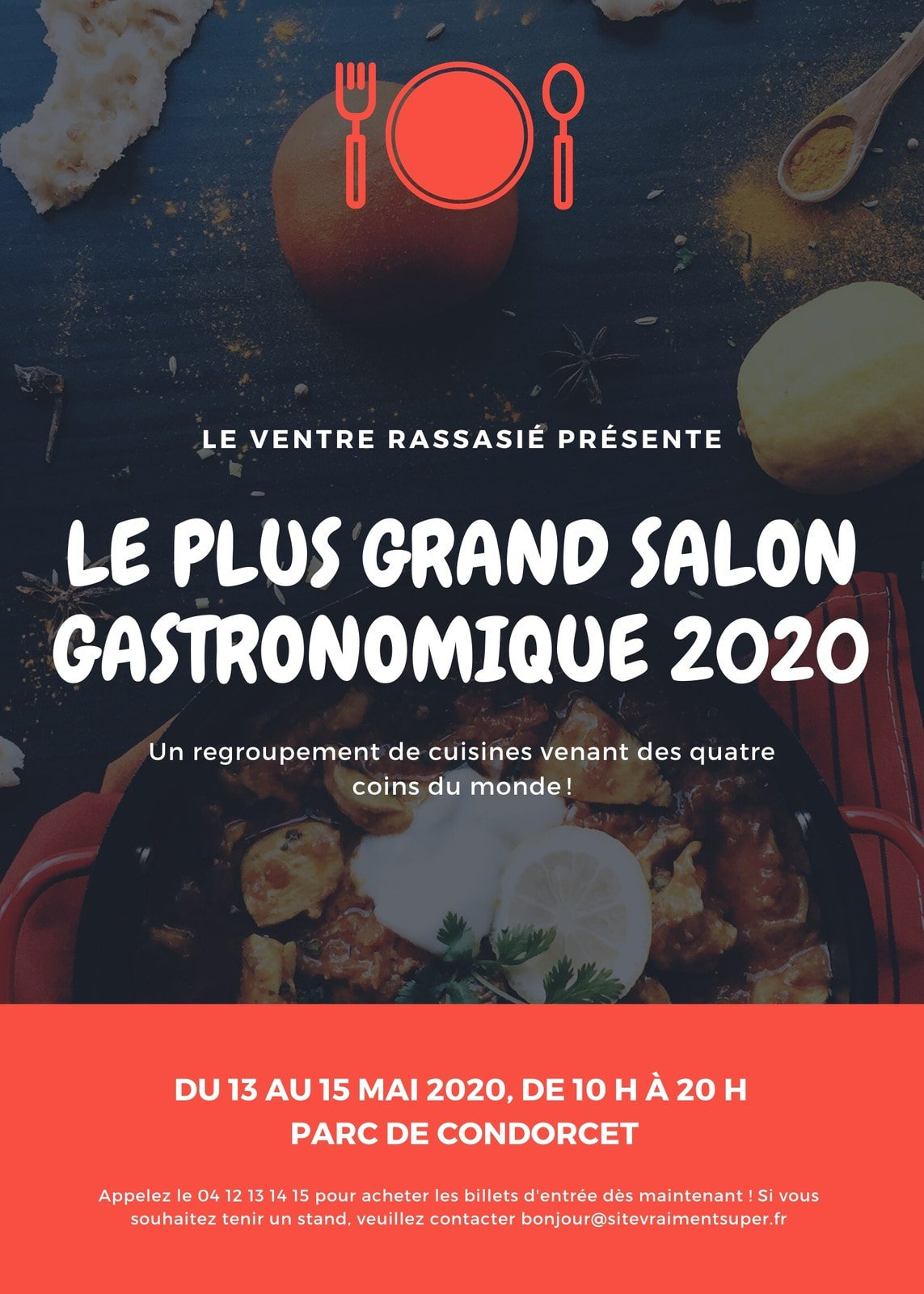 Rouge gastronomique salon flyer