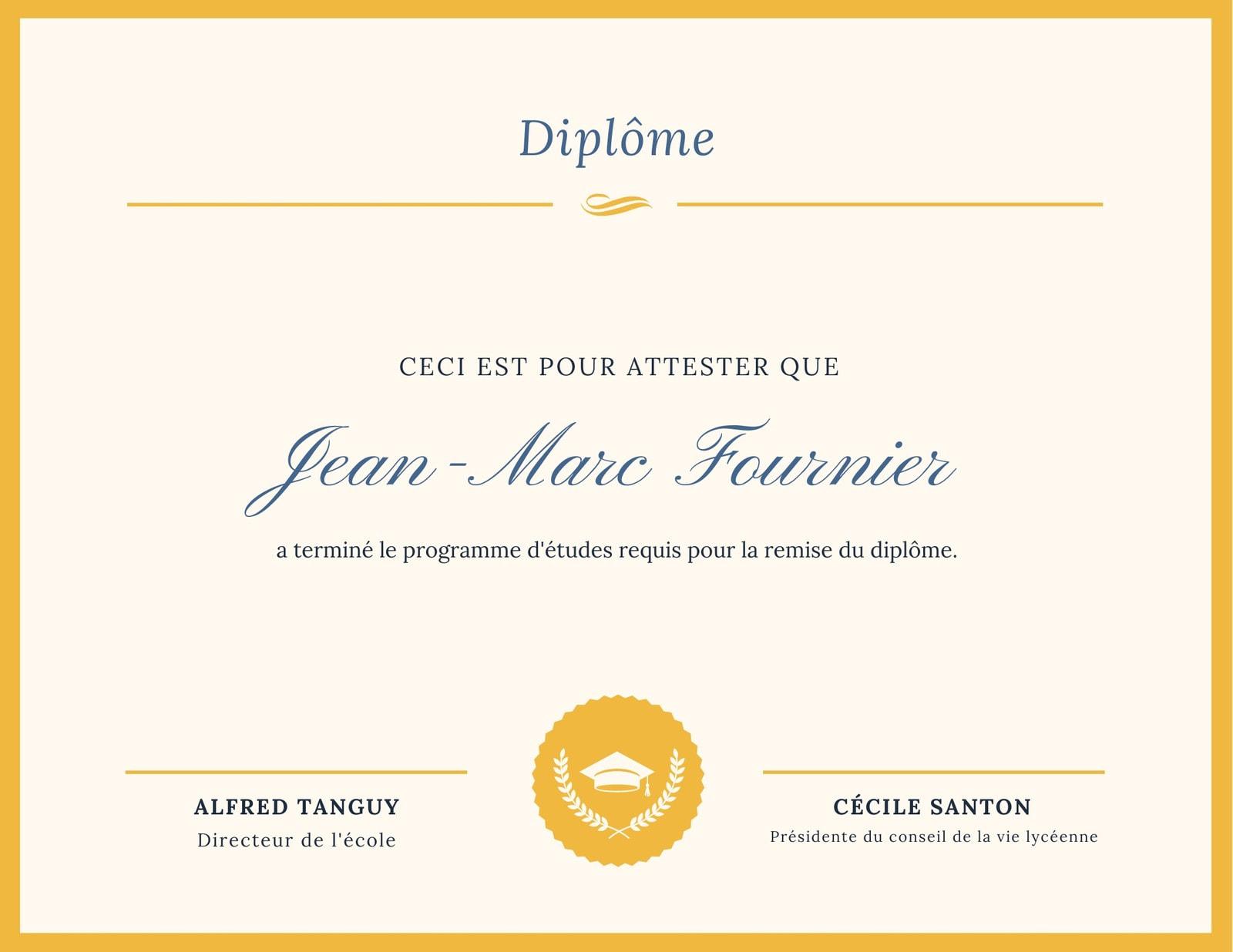 Bleu et Doré Simple Lycée Diplôme Bac Certificat
