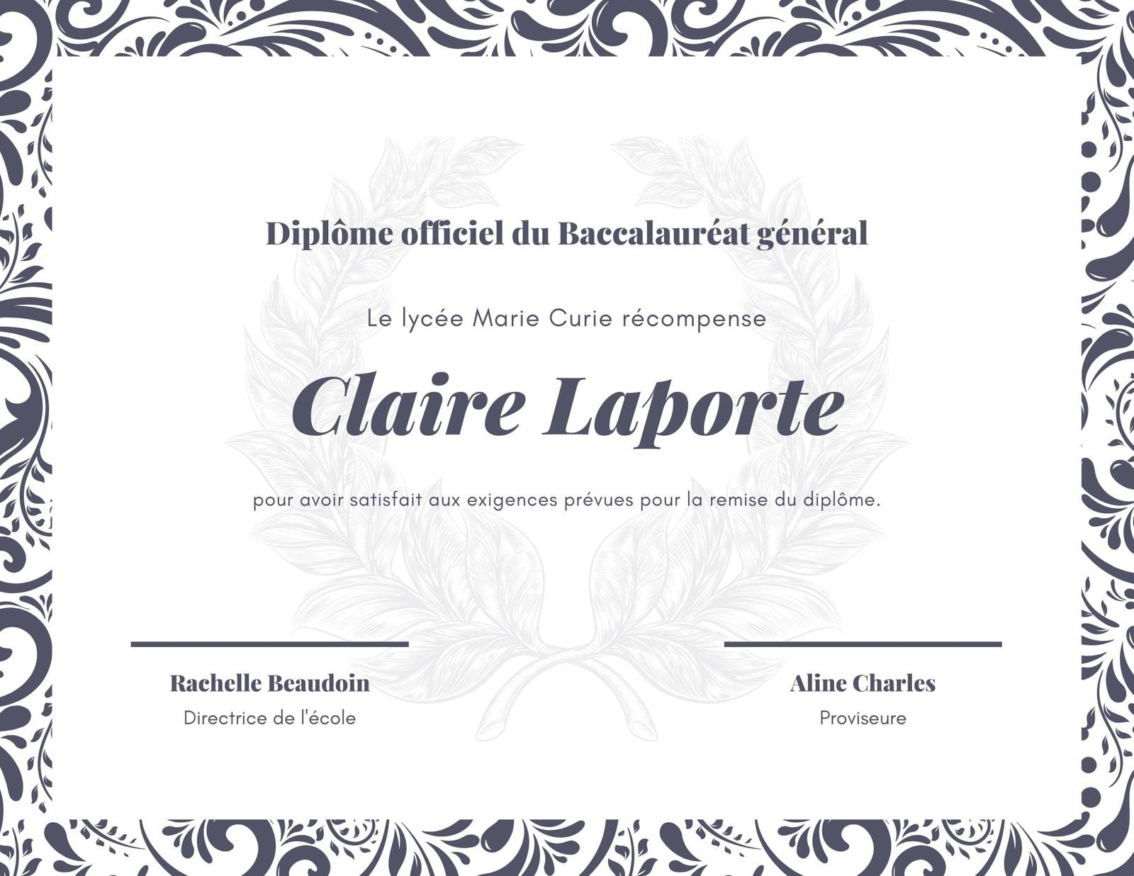 Violet foncé Décoré Lycée Diplôme Certificat