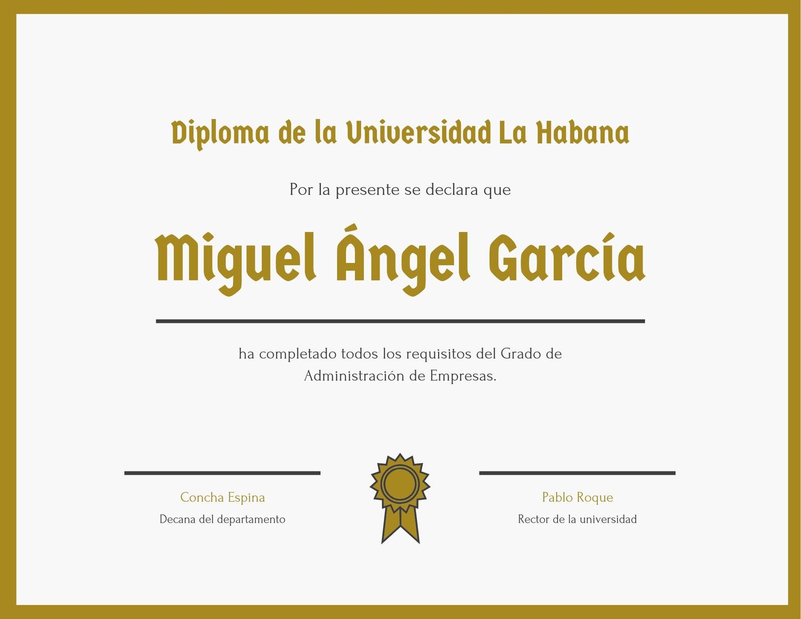 Dorado Borde Universidad Diploma Certificado