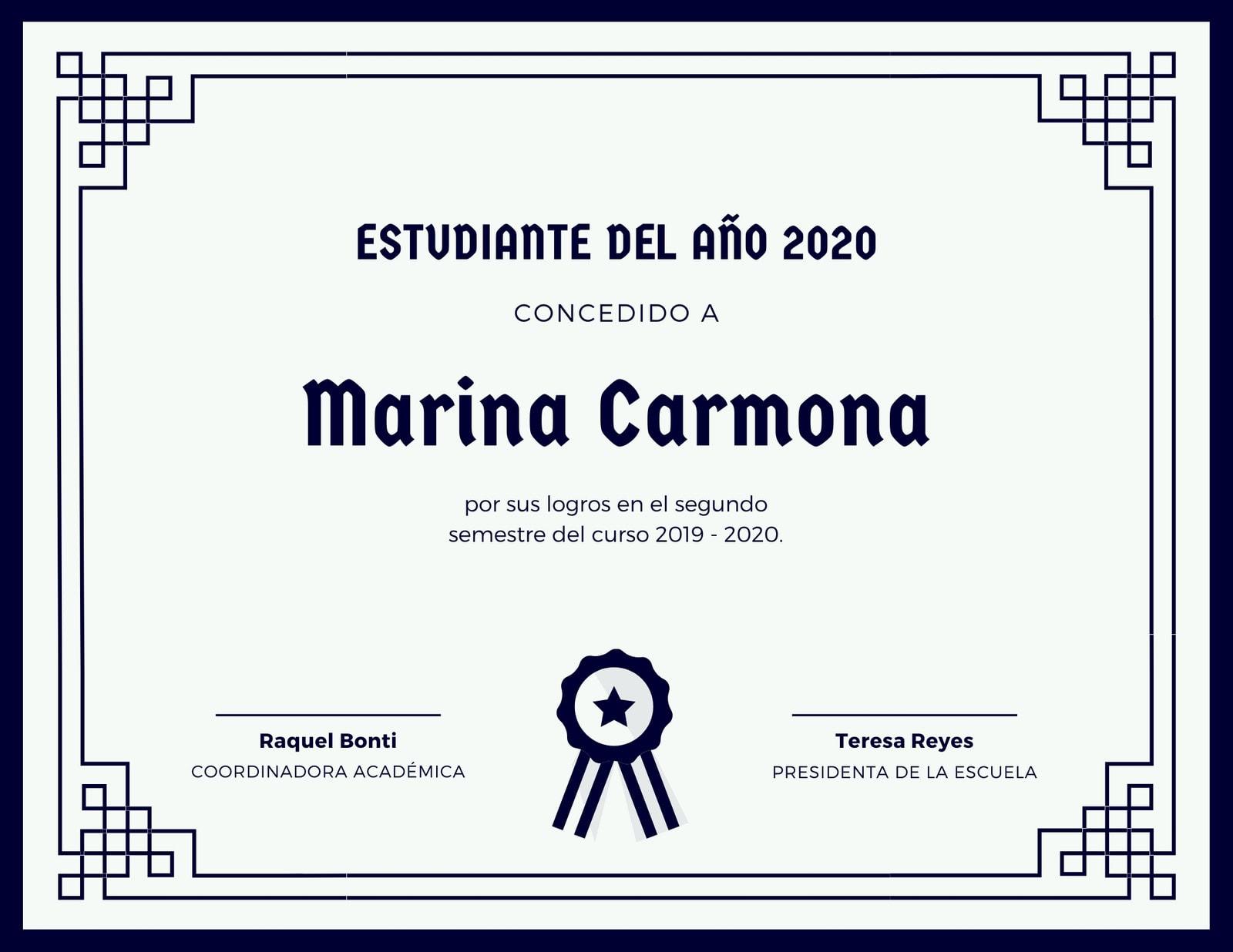 Azul Oscuro Medalla Estrella Bordes Certificado de Estudiante