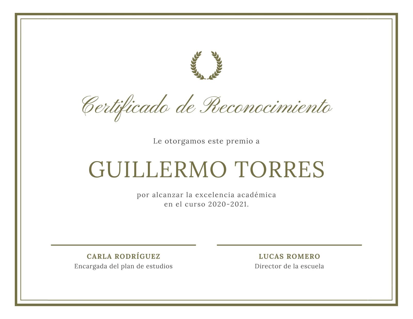 Blanco Verde Hoja Corona Laurel Borde Certificado de Reconocimiento