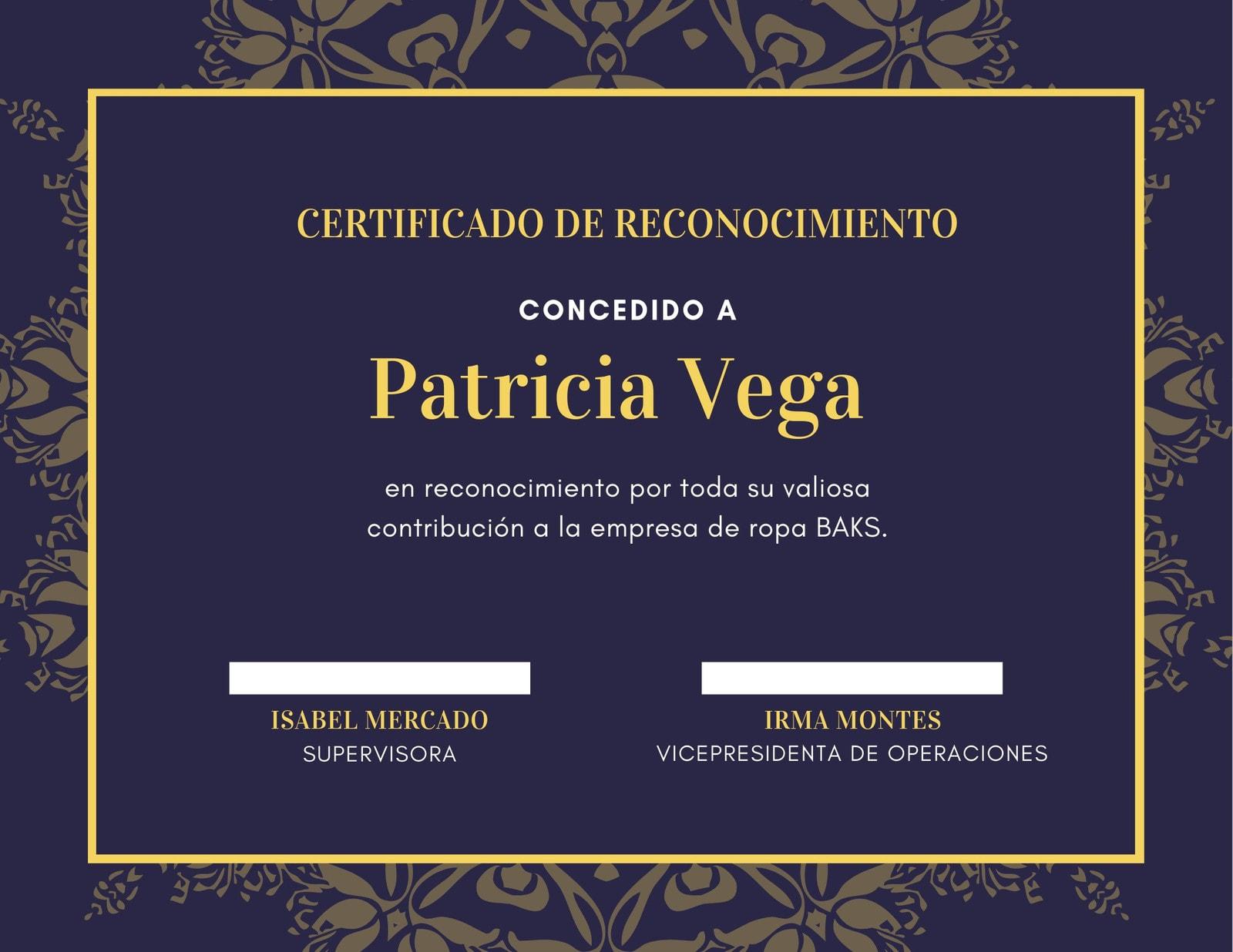 Violeta Dorado Marco Borde Estampado Mandala Ilustrado Certificado de Reconocimiento