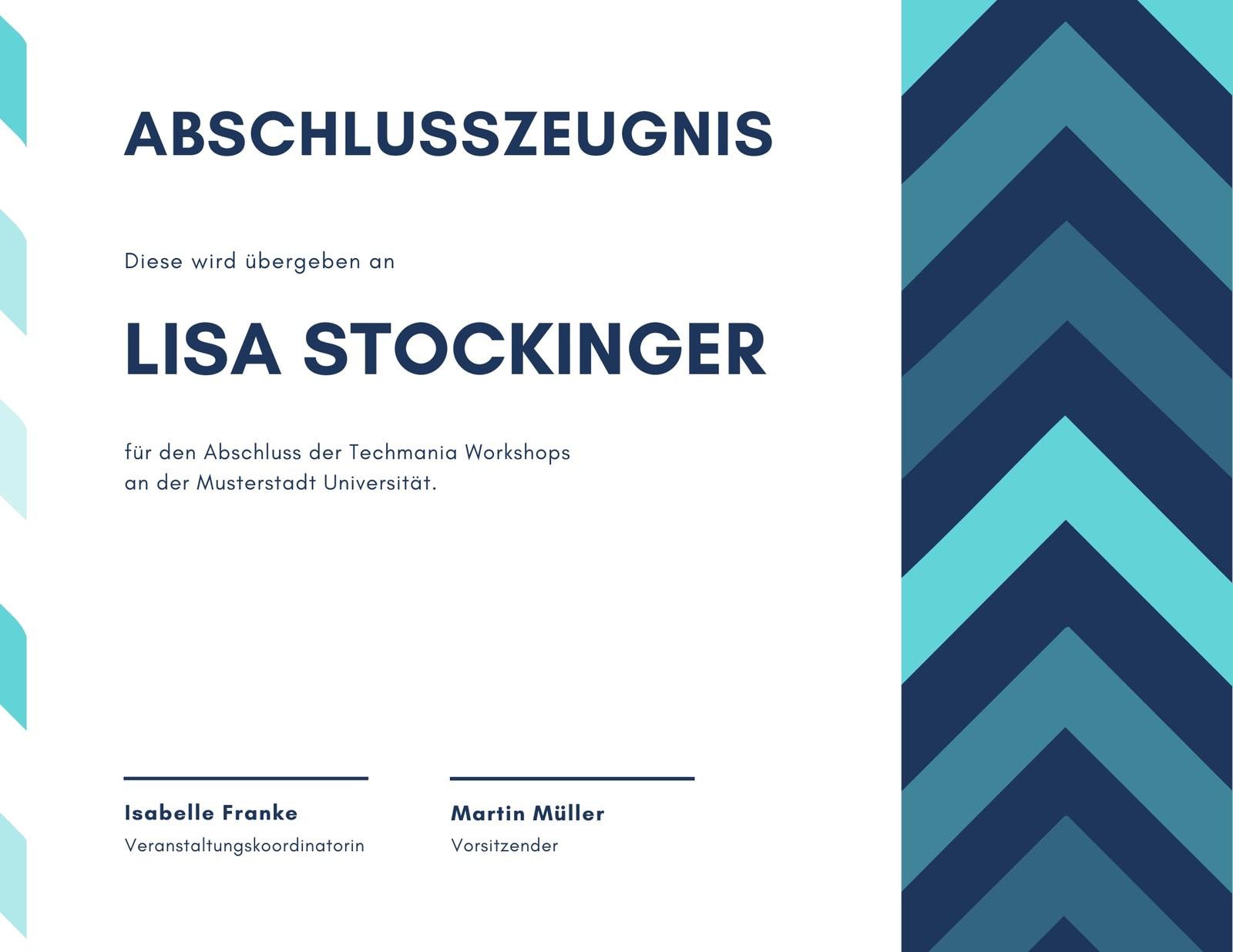 Blau Zickzack Abschlusszeugnis
