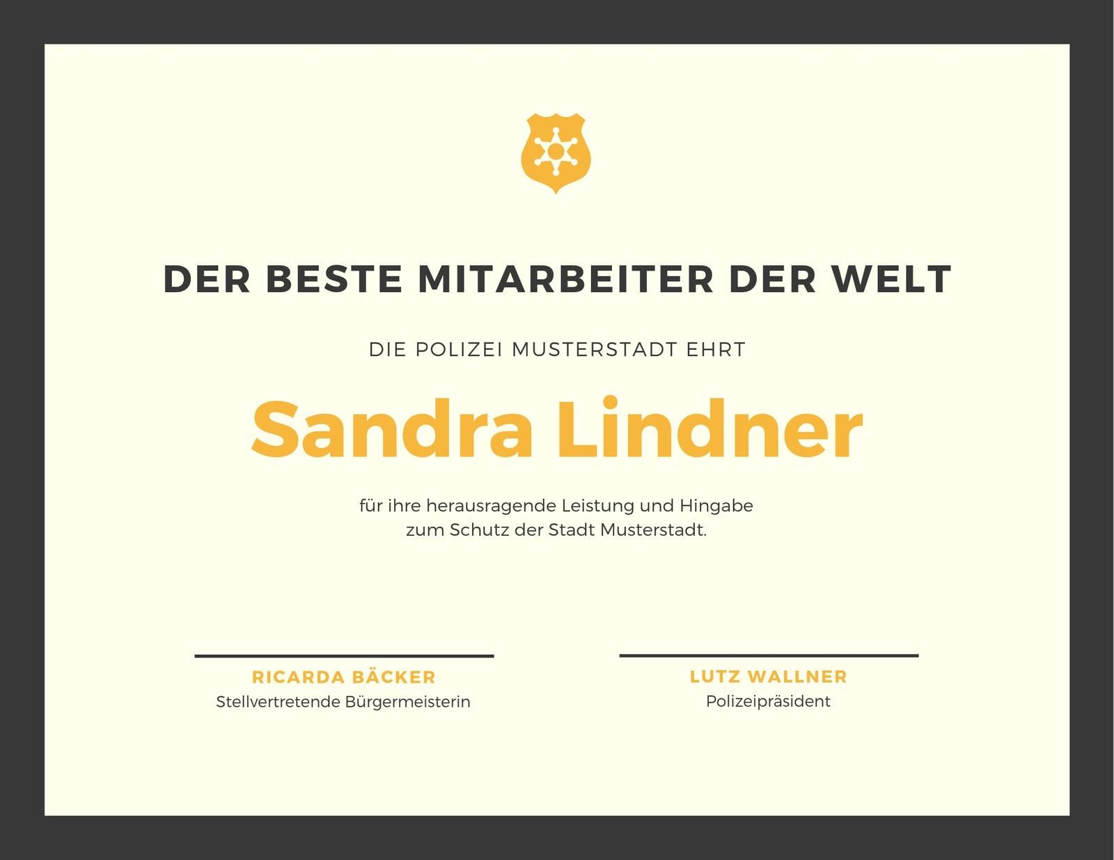 Schwarz und Gelb Polizei Abzeichen Anerkennungszertifikat