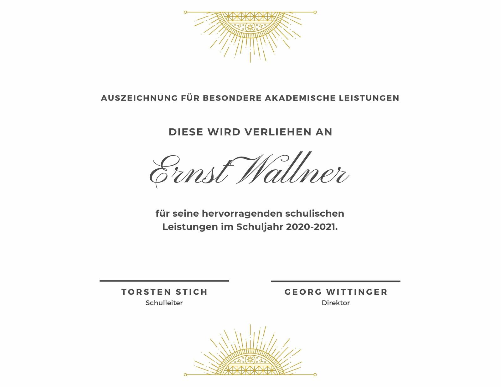 Weiß und Gold Elegant Akademisches Anerkennungszertifikat