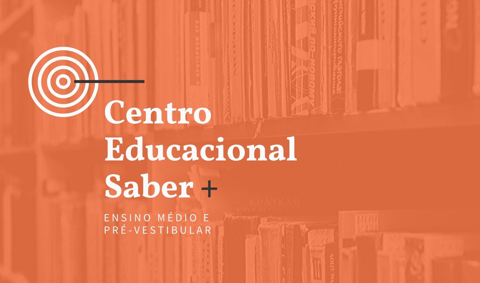 Cartão Preto e Laranja de Escola do Ensino Médio