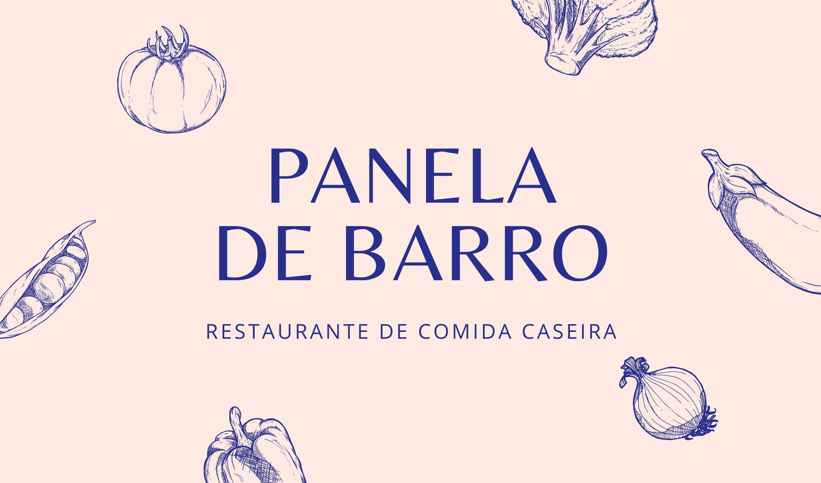 Cartão de Visita Rosa e Azul com Ilustração para Restaurante
