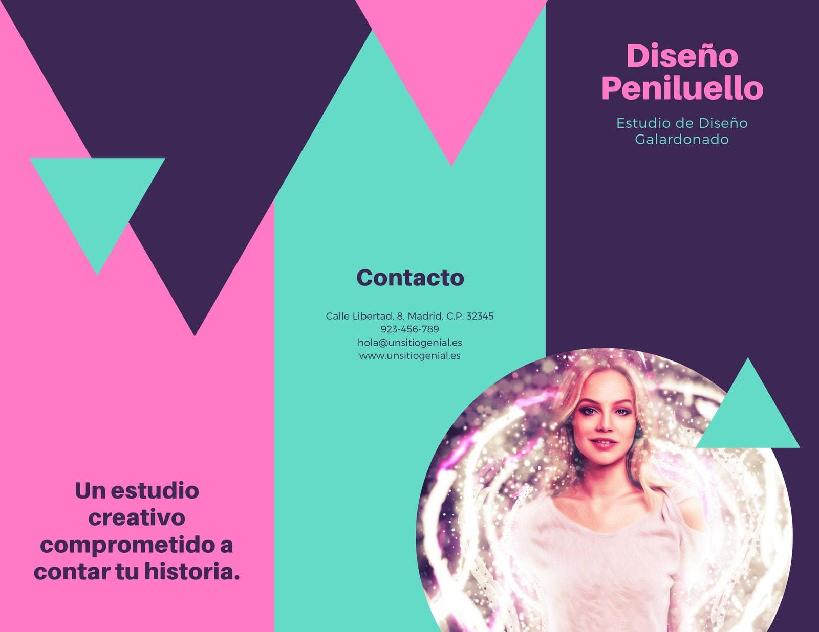 Rosa Verde Morado Triángulo Moderno Mujer Foto Diseño Empresa Folleto