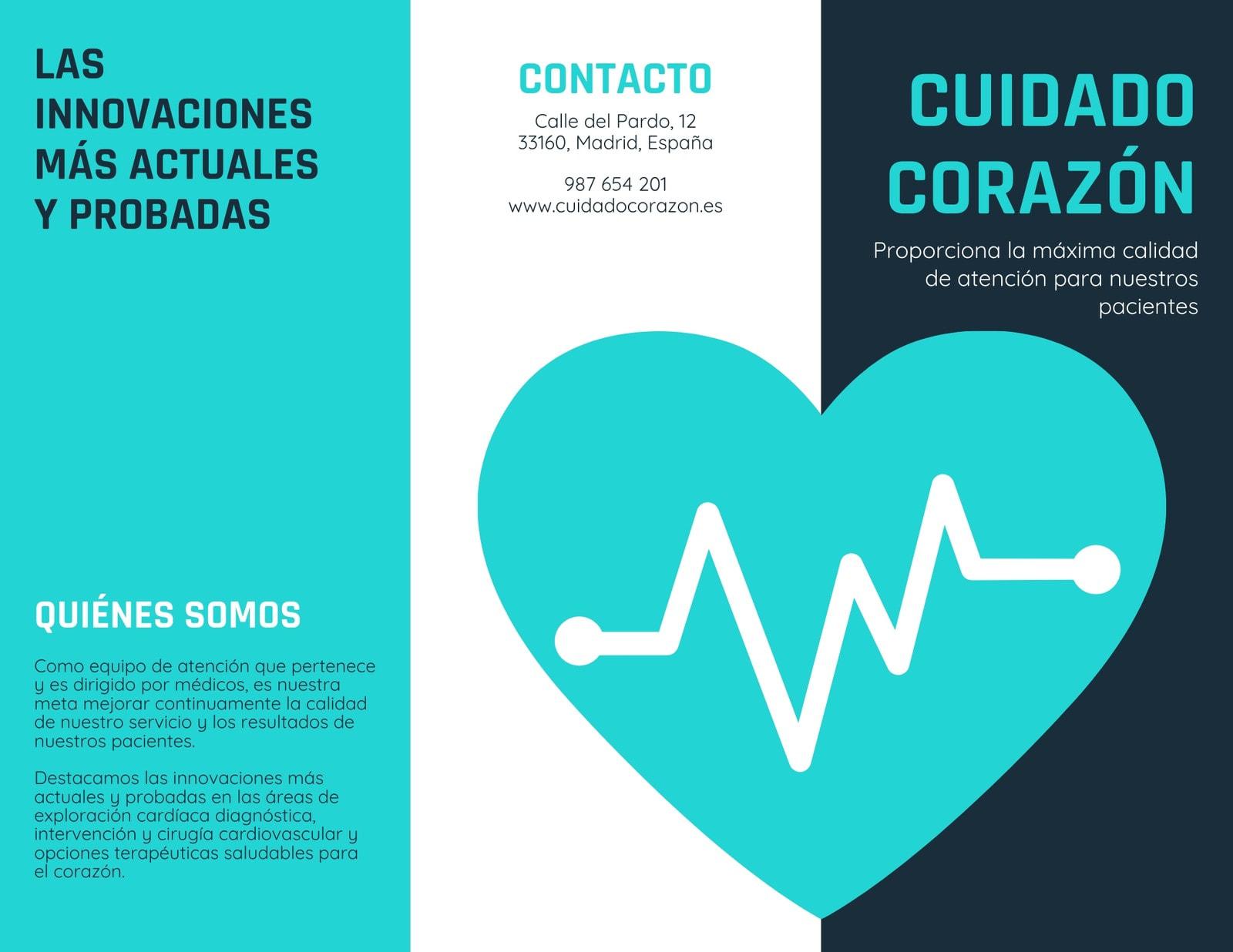 Azul Turquesa Blanco Corazón Vector Médico Folleto