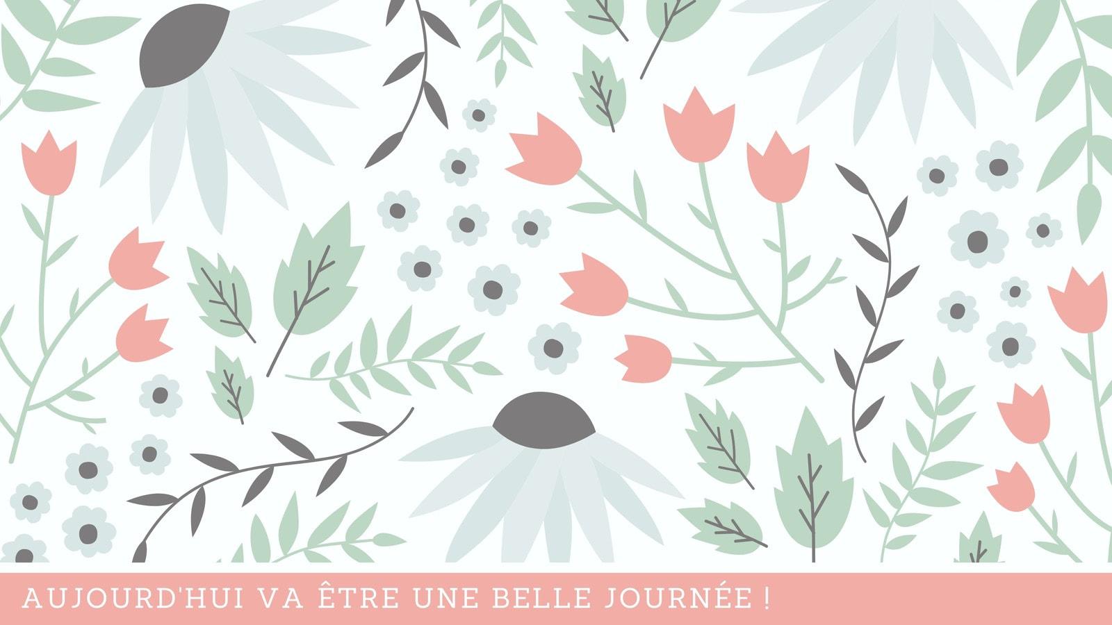 Pastel Fleurs et Feuilles Illustration Créatif Fond d'écran