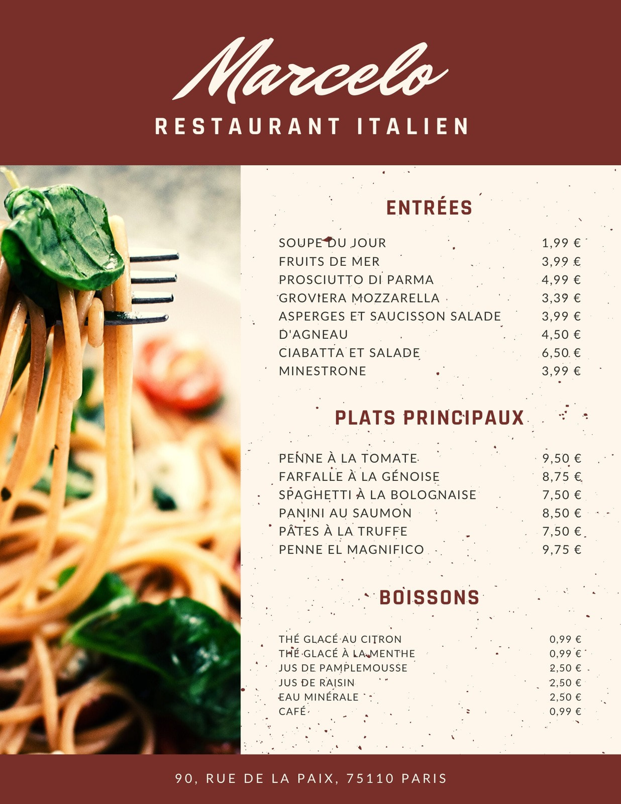 Bordeaux Pâte Italien Carte