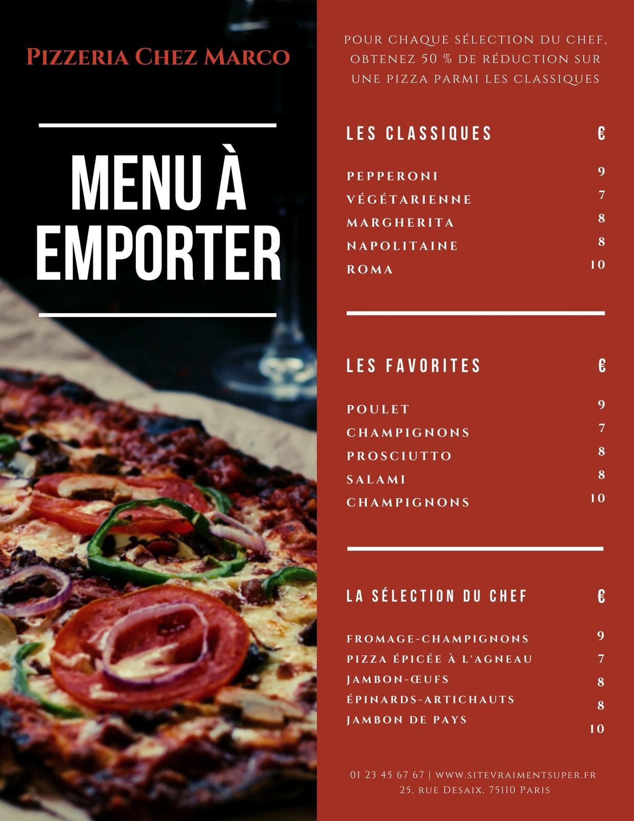 Rouge Photo de Pizza Pizzeria À Emporter Carte
