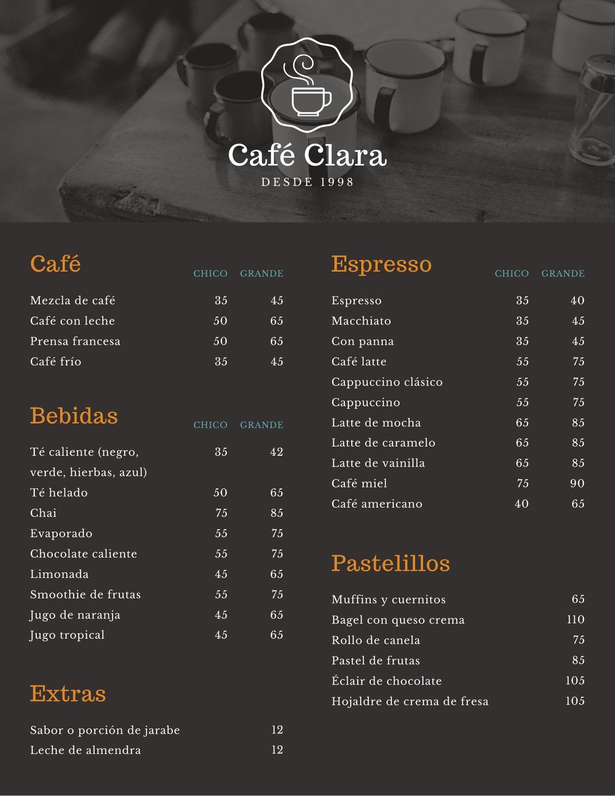 Marrón Obscuro Tazas Tienda Cafetería Menú