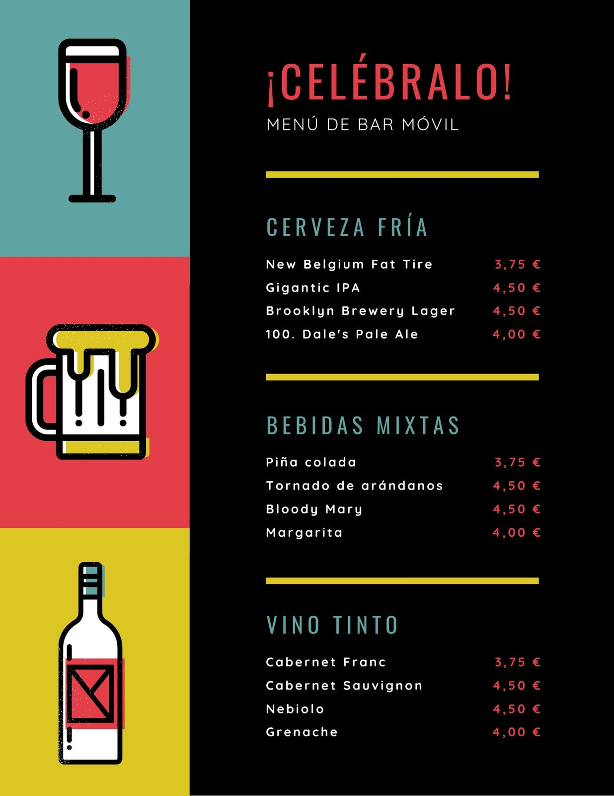 Negro Amarillo Rojo Verde Neón Bar Bebidas Menú