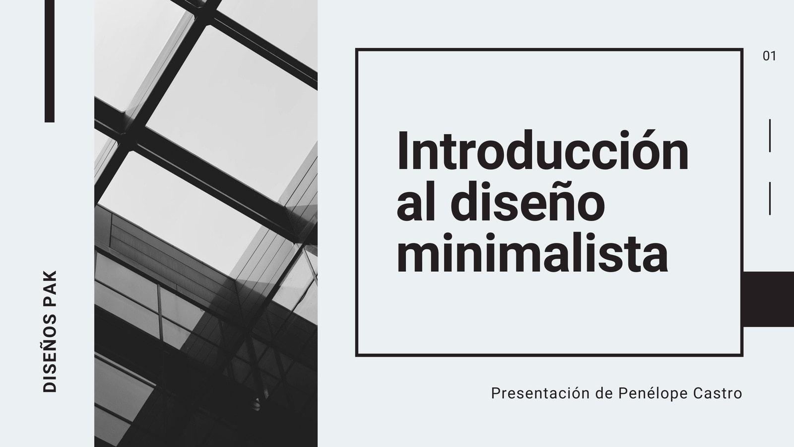 Presentación Minimalista de Introducción al Diseño Blanco y Negro