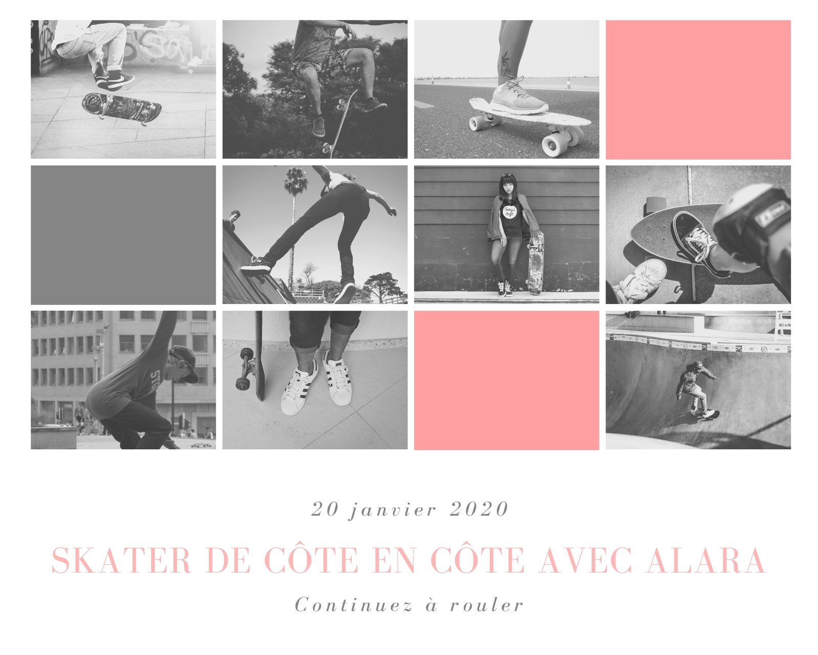 Montage photo de patineur monochrome