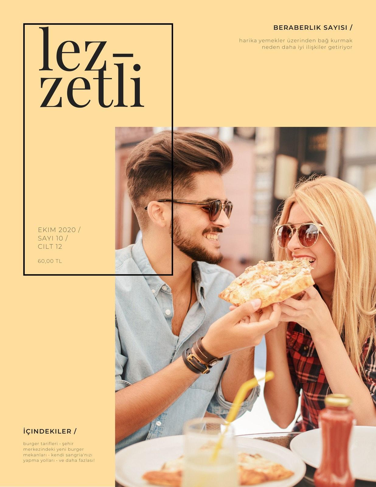 Krem Siyah ve Beyaz Modern Yemek Dergi