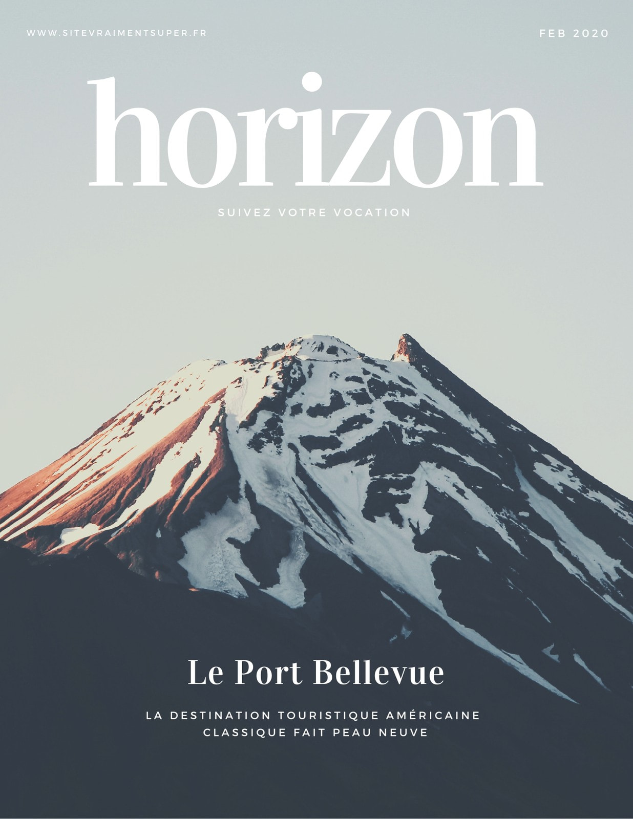Bleu Simple Moderne Voyage Magazine