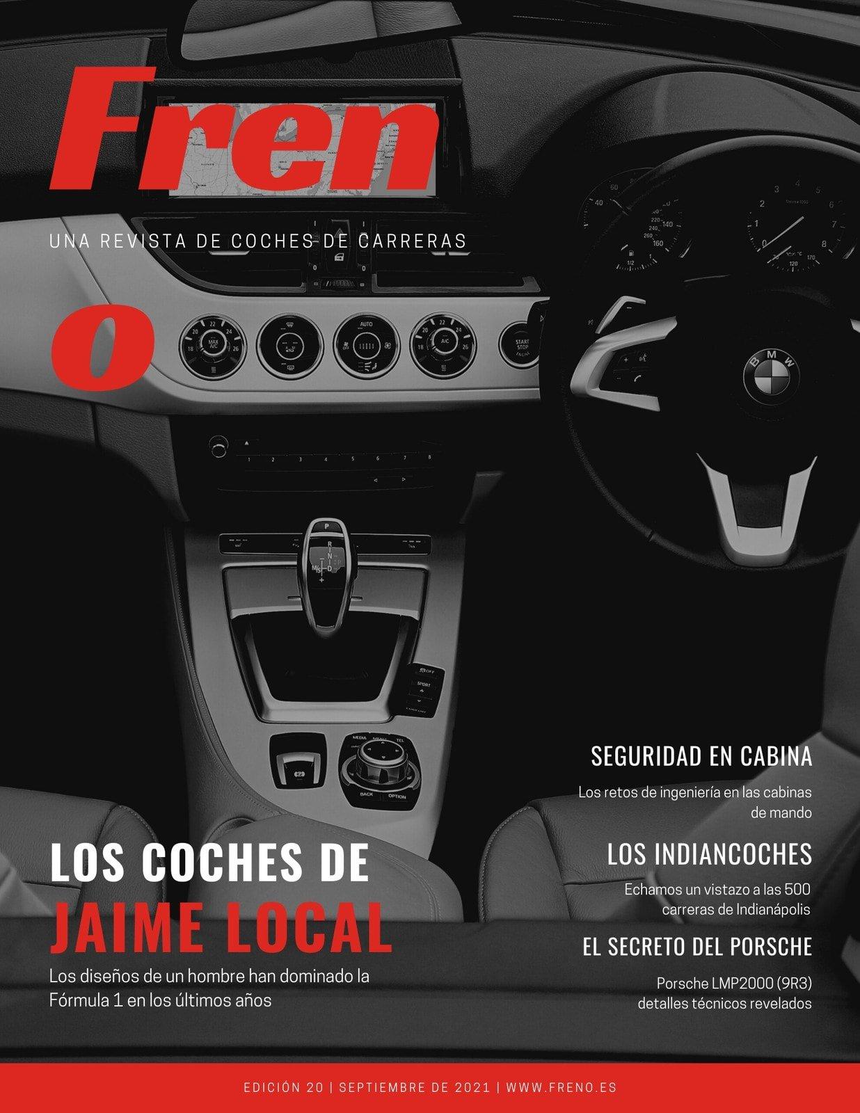 Negro Rojo Moderno Foto Coches Revista Portada