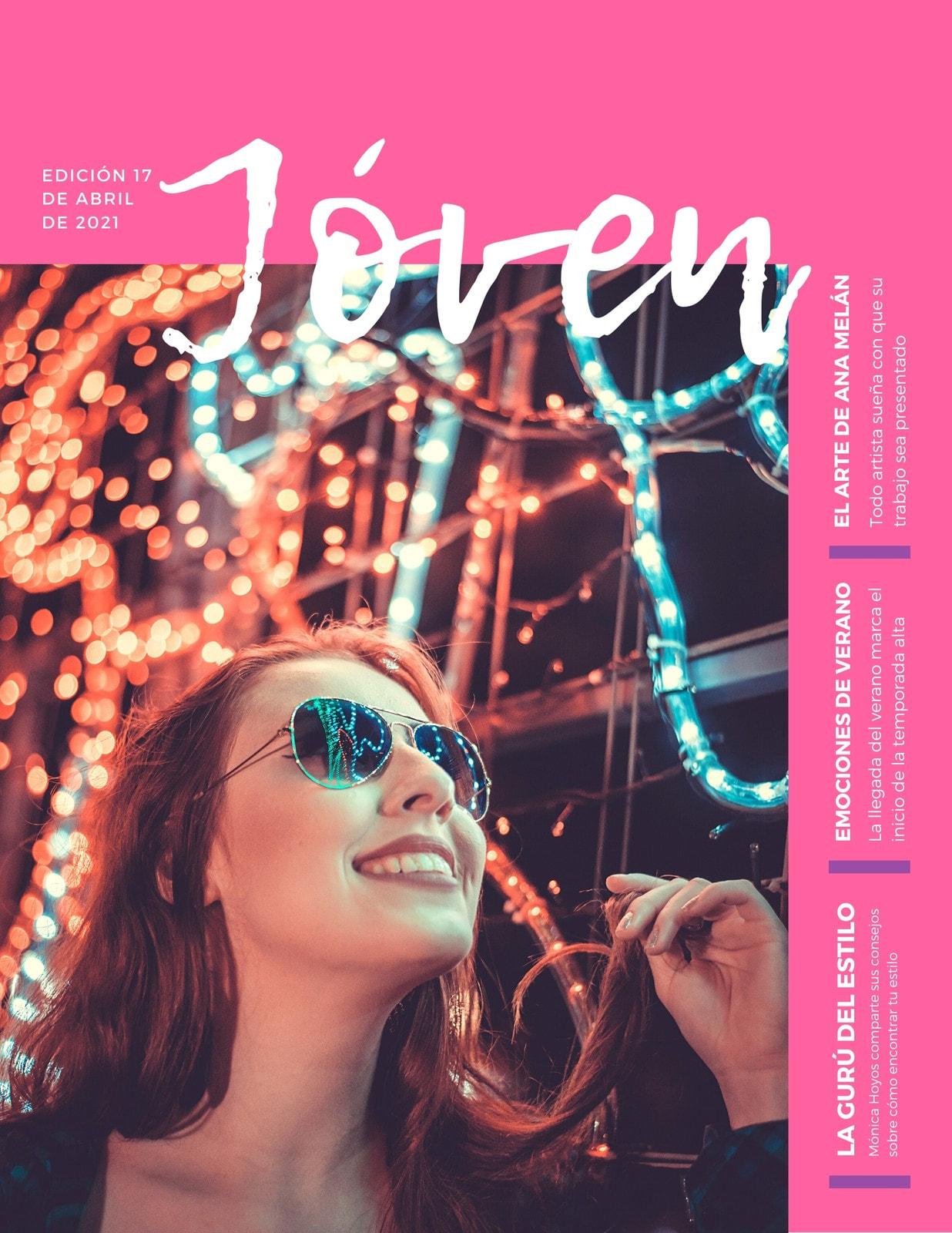 Portada de Revista Adolescente Femenino Rosa
