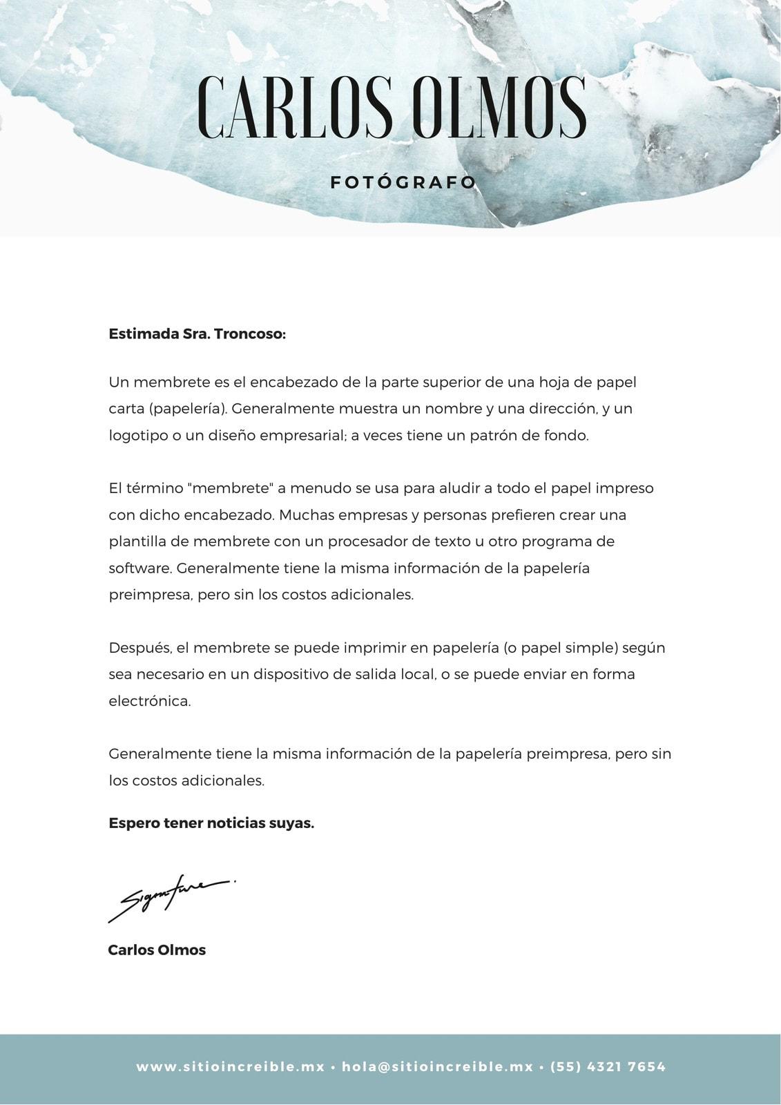 Hojas Azules Fósil Creativo Membrete