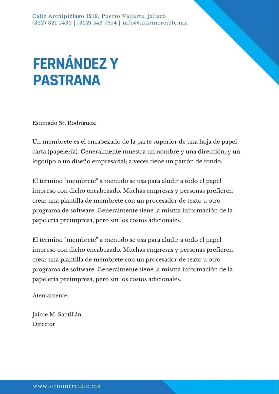 Azul Simple Forma Triangular Profesional Membrete