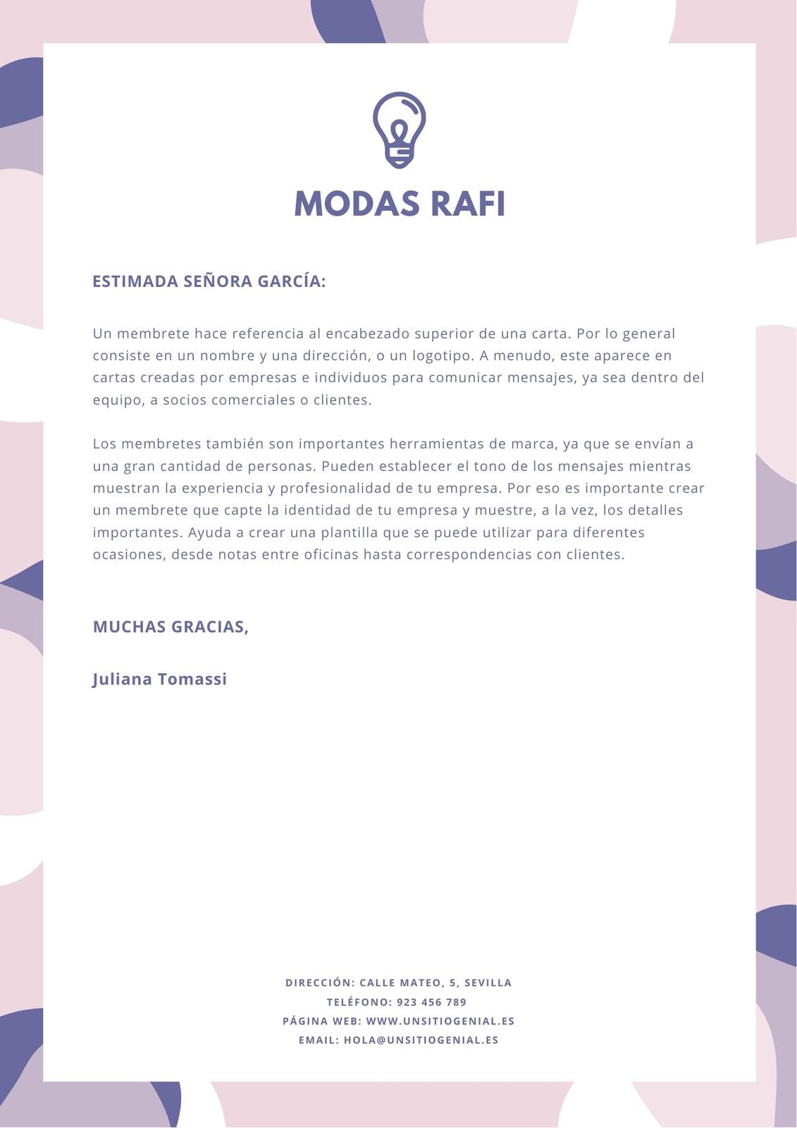 Membrete Personal Formas Abstractas Pastel