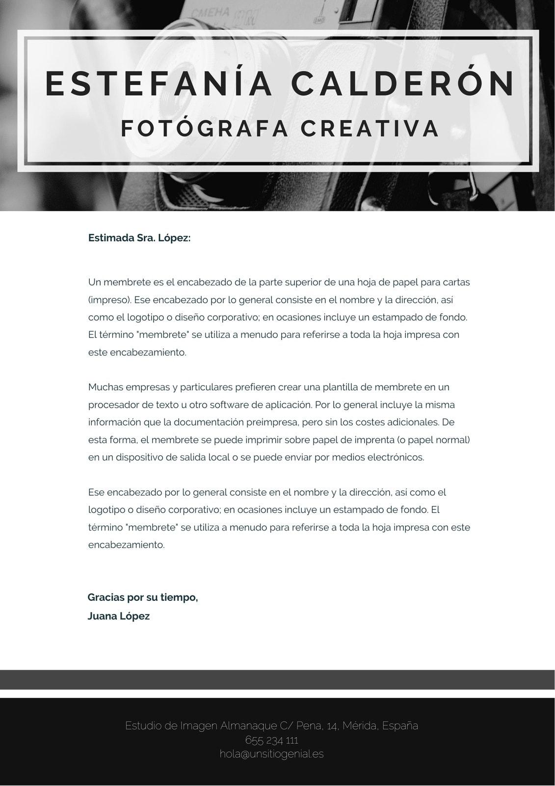 Membrete Creativo Negro y Blanco Cámara Minimalista
